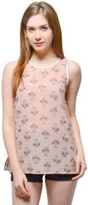 Oranje Casual Sleeveless Printed Women's Pink Top