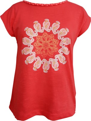 Girl Confidential Casual Short Sleeve Solid Girl's Red Top