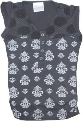Kidsmasthi Casual Cap sleeve Printed Girl's Black Top