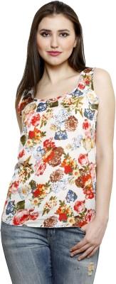 Dhrohar Casual Sleeveless Floral Print Women,s White Top