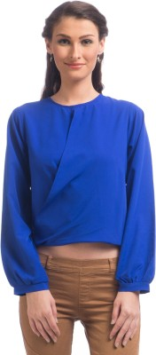 Uptownie Lite Party Full Sleeve Solid Women's Blue Top