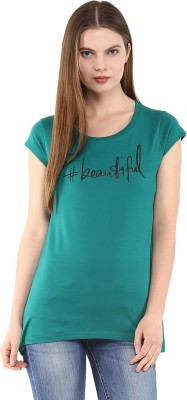 Fritzberg Casual Short Sleeve Printed Women's Green Top
