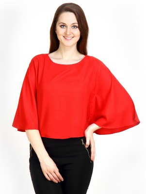 Maisha Casual Kimono Sleeve Solid Women,s Red Top