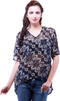Goodwill Impex Casual Short Sleeve Printed Women's Black Top