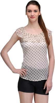 TheGudLook Casual Sleeveless Printed Women's Beige Top