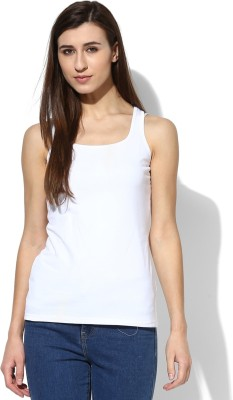 Tshirt Company Casual Sleeveless Solid Women's White Top
