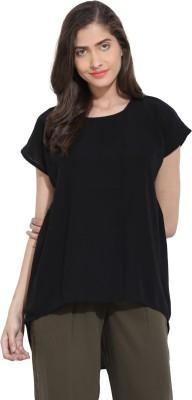 Ama Bella Casual Short Sleeve Solid Women's Black Top