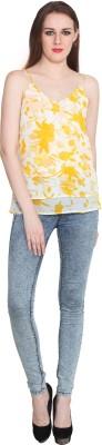 Eva De Moda Casual Sleeveless Floral Print Women's Yellow Top