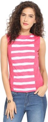 Northern Lights Casual Sleeveless Striped Women's Pink, White Top
