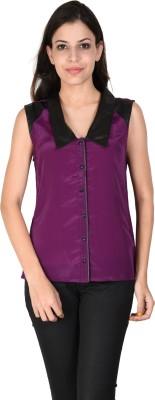 Latin Quarters Casual Sleeveless Solid Women,s Purple Top