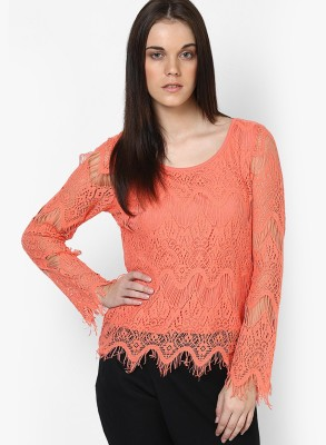 Only Casual Full Sleeve Woven Women's Red Top