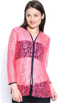 Shopaholic Casual 3/4 Sleeve Self Design Women's Pink, Dark Blue Top