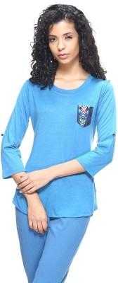 HANGNHOLD Casual 3/4 Sleeve Self Design Women's Blue Top