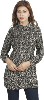 Naitik Casual Full Sleeve Printed Women's Black Top