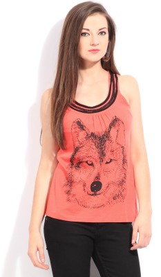 Latin Quarters Casual Sleeveless Printed Women's Orange Top