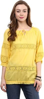 Hapuka Casual 3/4 Sleeve Solid Women's Yellow Top