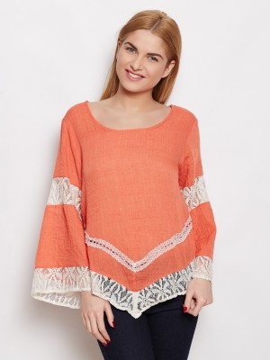Young Threads Casual Full Sleeve Embroidered Women's Orange Top