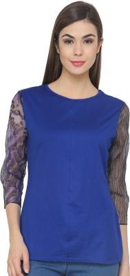 Ebry Casual 3/4 Sleeve Printed Women's Blue Top