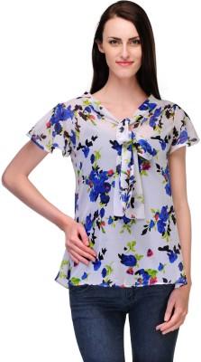 Fashionwalk Casual Short Sleeve Floral Print Women's White, Purple Top