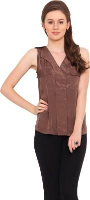 La Arista Casual Sleeveless Solid Women's Brown Top