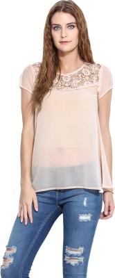 Porsorte Casual Short Sleeve Solid Women's Pink Top