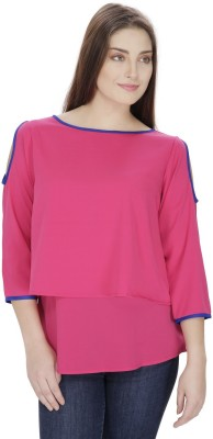 Pops N Pearls Casual 3/4 Sleeve Solid Women's Pink Top
