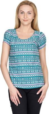 Shopaholic Casual Short Sleeve Printed Women's Light Blue, White Top