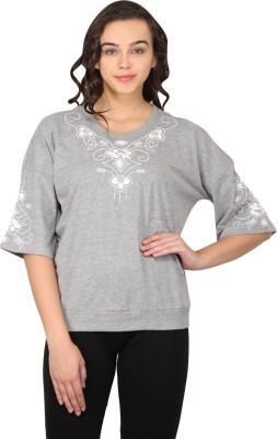 Nordic Bazaar Casual 3/4 Sleeve Embroidered Women's Grey Top