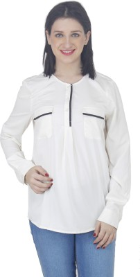 Hapuka Casual Full Sleeve Solid Women's White Top