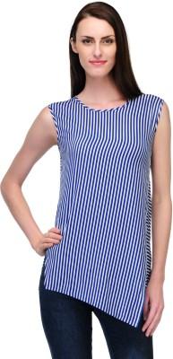 Fashionwalk Casual Sleeveless Striped Women's White, Blue Top