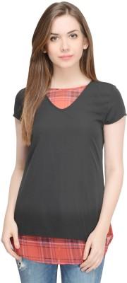 Oranje Casual Short Sleeve Solid Women's Black Top