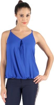 Vinegar Casual Sleeveless Solid Women's Blue Top