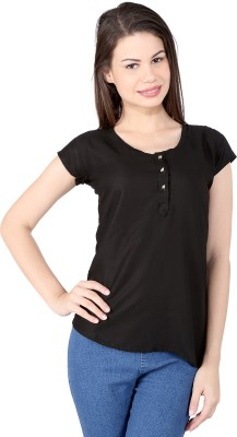 pinklady Casual Short Sleeve Solid Women's Black Top