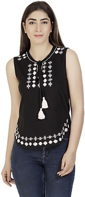 Gudi Casual Sleeveless Embroidered Women's Black Top