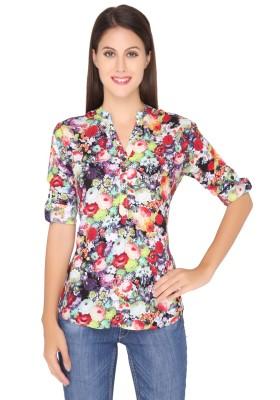 Girl Next Door Casual Roll-up Sleeve Printed Women's Multicolor Top