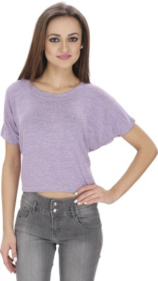 Svt Ada Collections Casual Short Sleeve Solid Women's Purple Top