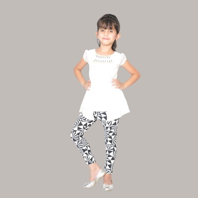 SD Party Cap sleeve Self Design Girl's White Top