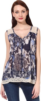 Oxolloxo Casual Sleeveless Printed Women's Blue Top at flipkart