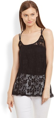 Anasazi Casual Sleeveless Solid Women's Black Top