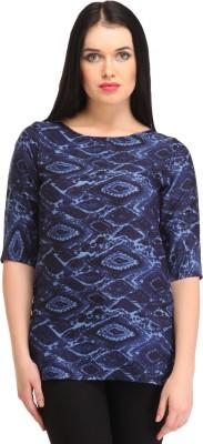 Cottinfab Casual Short Sleeve Printed Women's Blue Top at flipkart