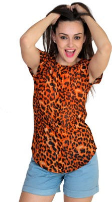 Jake Chiramel Casual Short Sleeve Printed Women's Orange Top