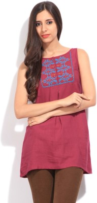 Global Desi Casual Sleeveless Solid Women's Pink Top