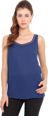 Ama Bella Casual Sleeveless Solid Women's Blue Top