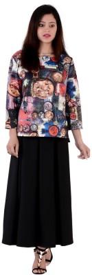 Fashnopolism Casual 3/4 Sleeve Self Design Women's Black Top