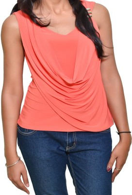 Mitra Creations Party Sleeveless Solid Women's Orange Top