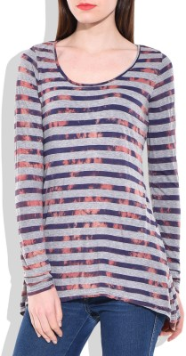 London Off Casual Full Sleeve Striped Women's Blue Top