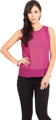 Paprika Casual Sleeveless Solid Women,s Purple Top