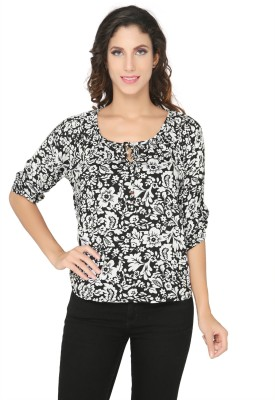 Philigree Casual 3/4 Sleeve Floral Print Women,s Black, White Top