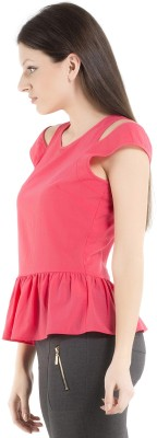 Kazo Casual Sleeveless Solid Women's Pink Top