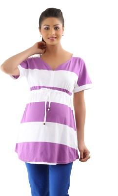 Kriti Western Maternity Casual Cape Sleeve Striped Women's Purple Top